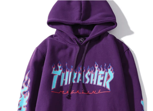 Thrasher Blue Flame Classic Purple Hoodie