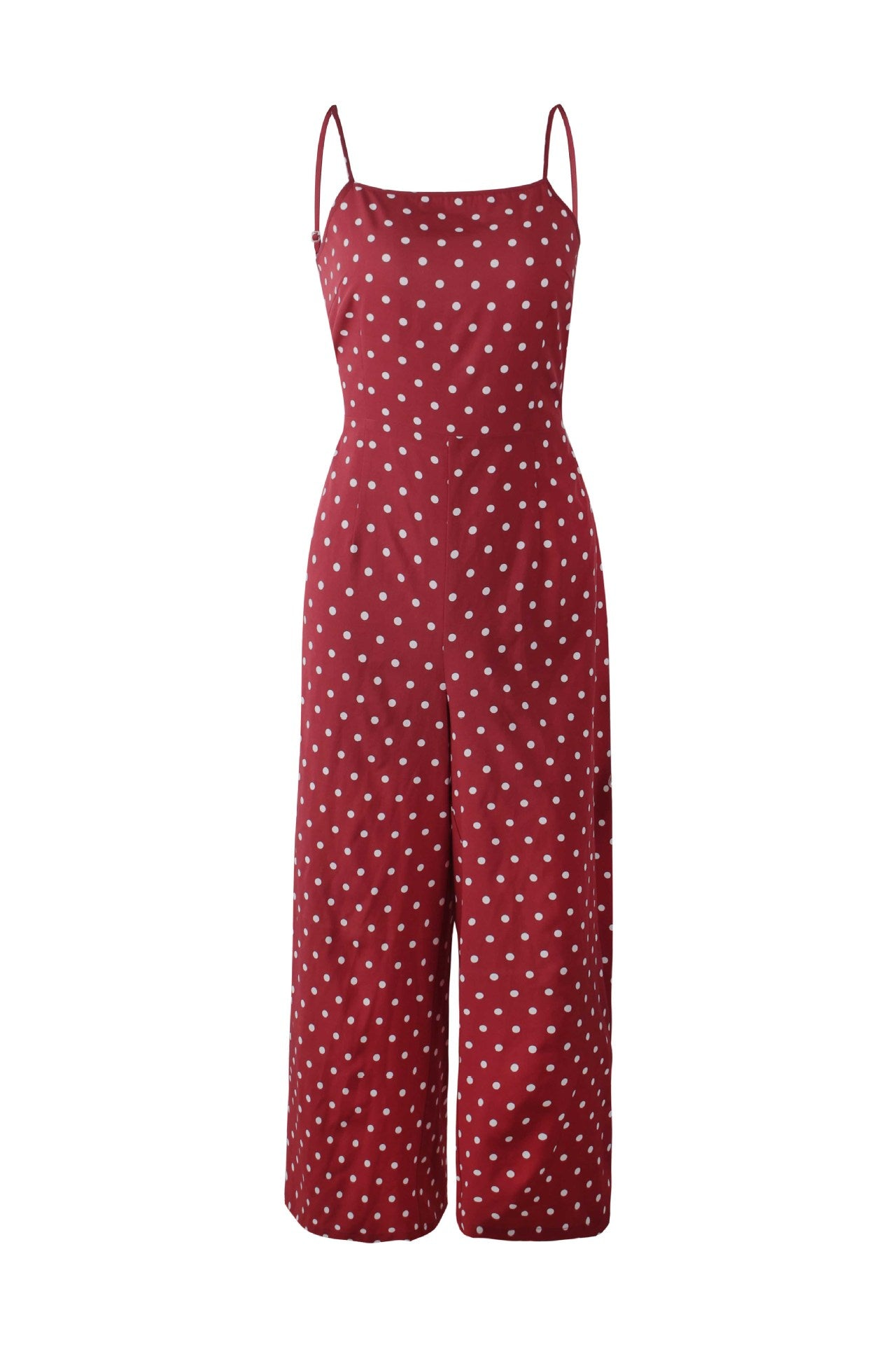 Red Jumpsuit Romper Polka Dot Print Sleeveless Open Back Bandage High Waist Wide Legs