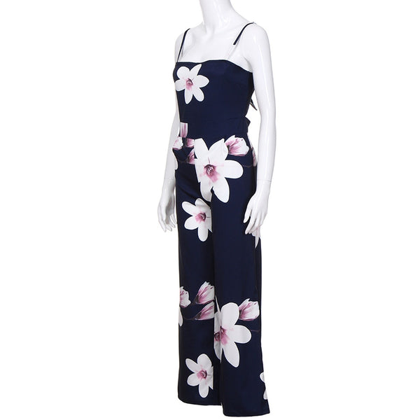 Summer  Floral  Jumpsuit Trousers