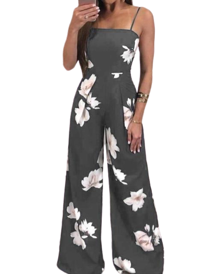 Floral  Sleeveless Grey Jumpsuit Romper