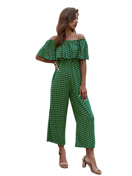 JLI MAY Polka Dot Slash Neck Cotton Green Jumpsuits