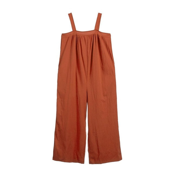 Brown Women Overalls Cotton Wide Leg Jumpsuits Mitiy Sleeveless Linen Baggy Pants Rompers