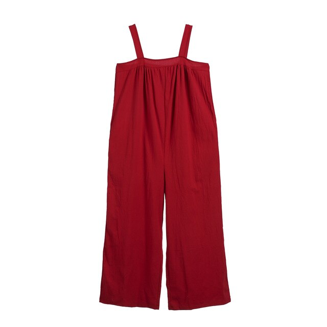 Red Women Overalls Cotton Wide Leg Jumpsuits Mitiy Sleeveless Linen Baggy Pants Rompers
