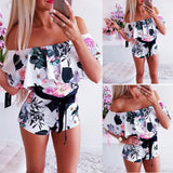 Boho Off Shoulder Floral Jumpsuit Romper
