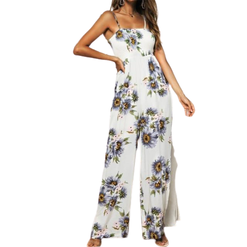 Lilac Flowery Strap Jumpsuit
