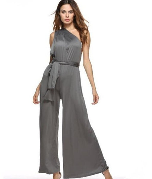 Multi Way Convertible Wrap Palazzo Grey Jumpsuit