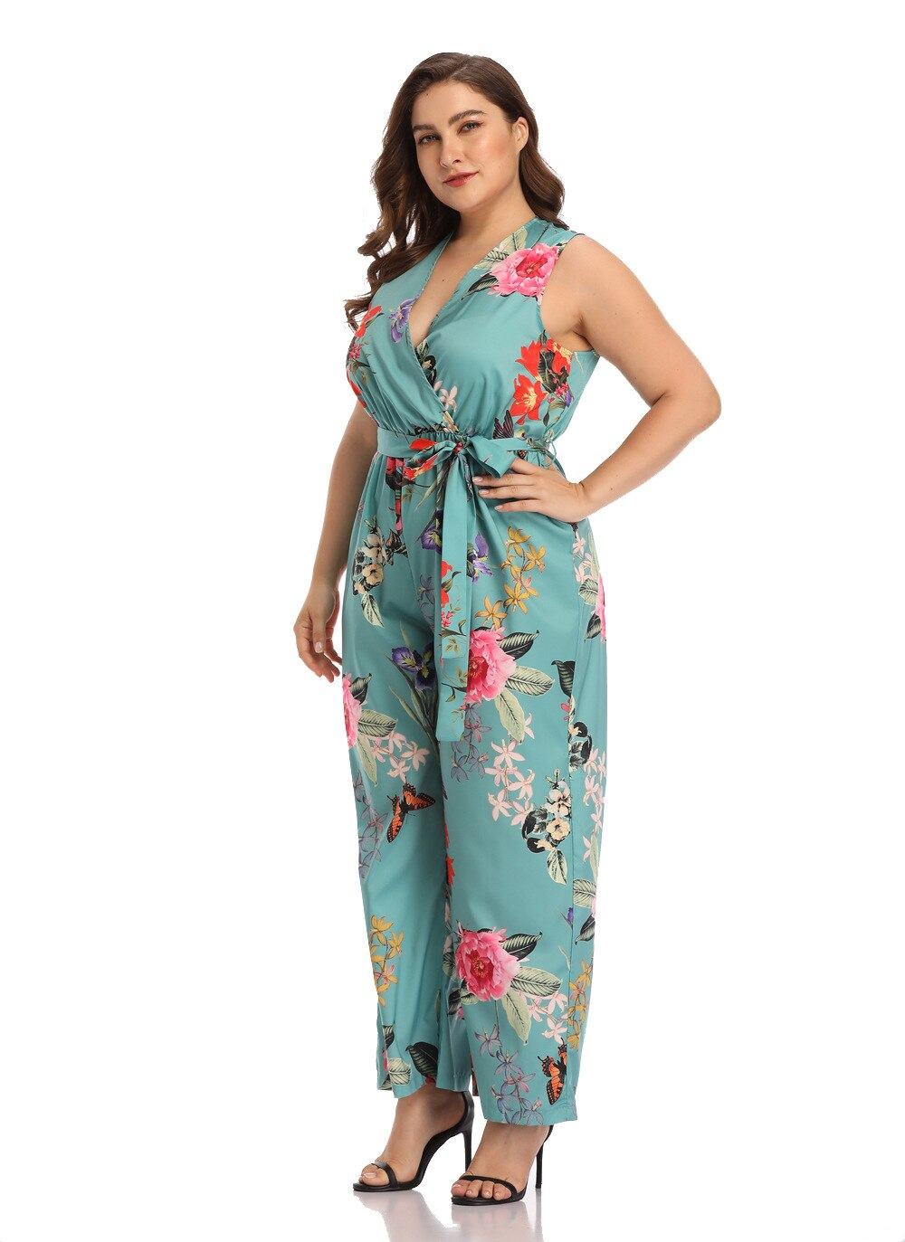 Floral Multi Color Curvy Plus Size Women V-Neck Jumpsuit