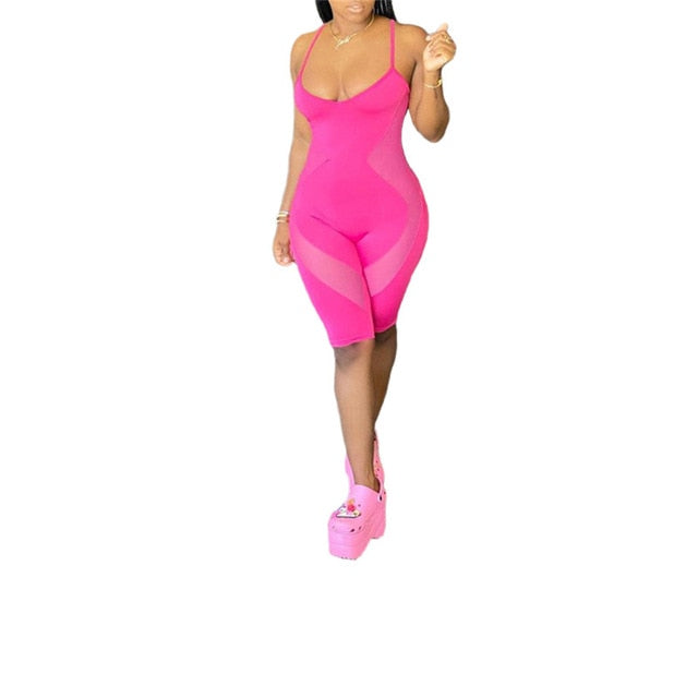 Mesh Patchwork See-Through Pink Jumpsuit