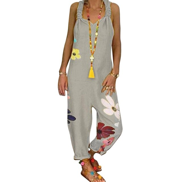 Sleeveless Bib Overall Backless Floral Loose Jumpsuit