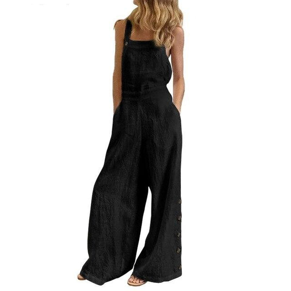 Summer Sleeveless Square Collar Casual Wide Leg Jumpsuit