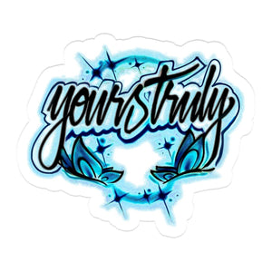 Yours Truly Blue Butterfly Airbrush Sticker STICKERS yourstrulyco