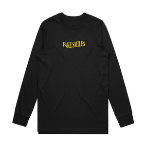 Fake Smiles Warp Long Sleeve - Black - Yours Truly Clothing