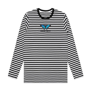 Yours Truly Blue Butterfly Striped Long Sleeve MEN'S LONG SLEEVE yourstrulyco
