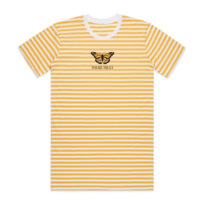 Orange Butterfly Striped Tee - Yellow - Yours Truly Clothing