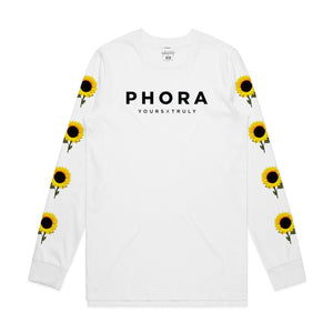Phora Yours Truly Sunflowers Long Sleeve - White - Yours Truly Clothing