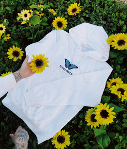 Yours Truly Blue Butterfly Hoodie - White HOODIE yourstrulyco