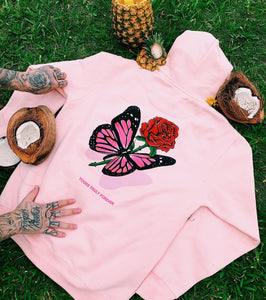 Butterfly Love Song Hoodie - Pink - Yours Truly Clothing