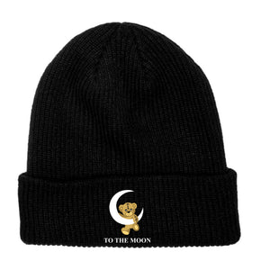 Moon Bear Embroidered Beanie - Black - Yours Truly Clothing