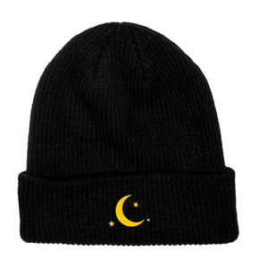 Star Moon Embroidered Beanie - Black - Yours Truly Clothing