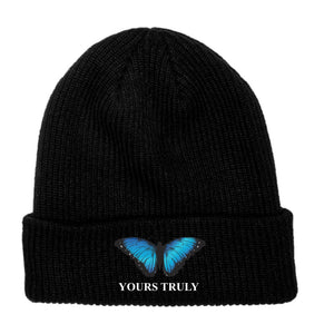 Blue Butterfly Embroidered Beanie - Black - Yours Truly Clothing