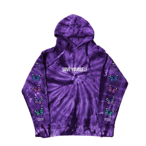 BROKEN BUTTERFLY HOODIE - SPIRAL PURPLE - Yours Truly Clothing