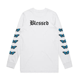 Blessed Butterflies Long Sleeve - White - Yours Truly Clothing