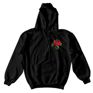 Checkered Rose Hoodie - Black - Yours Truly Clothing