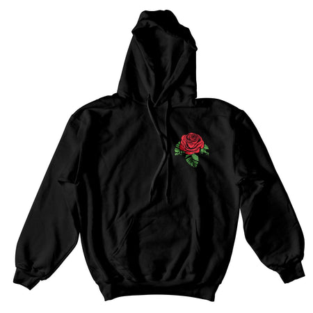 CHECKERED ROSE HOODIE - BLACK