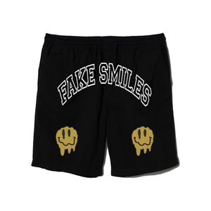 FAKE SMILES REFLECTIVE GOLD SHORTS - BLACK - Yours Truly Clothing