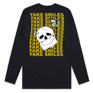 Masked Fake Smiles Long Sleeve - Black - Yours Truly Clothing