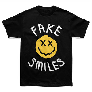 Fake Smiles Face Tee - Black - Yours Truly Clothing