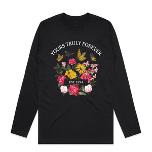 Bouquets and Butterflies Long Sleeve - Black - Yours Truly Clothing