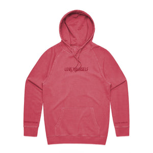 Love Yourself Embroidered Pigment Hoodie - Red - Yours Truly Clothing