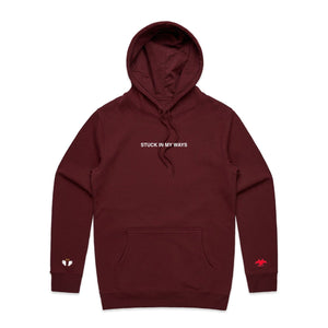 Stuck In My Ways Embroidered Hoodie - Burgundy - Yours Truly Clothing