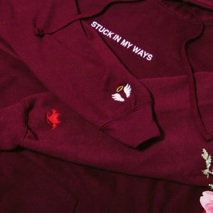 Stuck In My Ways Embroidered Hoodie - Burgundy HOODIE yourstrulyco