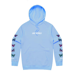Love Yourself Broken Butterfly Hoodie - Light Blue - Yours Truly Clothing
