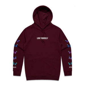 Love Yourself Broken Butterfly Hoodie - Burgundy - Yours Truly Clothing