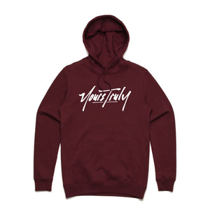 Yours Truly Logo Hoodie - Burgundy - Yours Truly Clothing