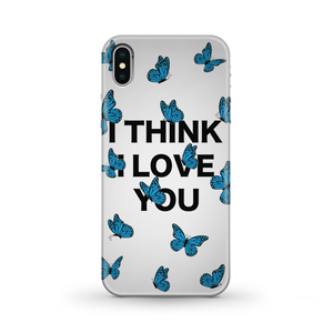I Think I Love You Blue Butterfly Phone Case - White - Yours Truly Clothing
