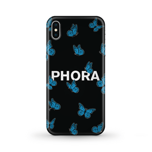 Phora Blue Butterfly Phone Case - Black - Yours Truly Clothing