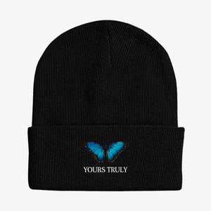 Yours Truly Blue Butterfly Beanie - Black BEANIE yourstrulyco
