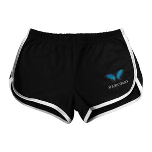 Blue Butterfly Women's Shorts - Black - Yours Truly Clothing