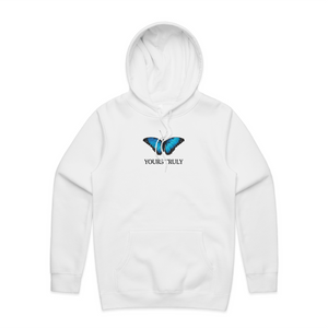 Yours Truly Blue Butterfly Hoodie - White HOODIE yourstrulyco XXL
