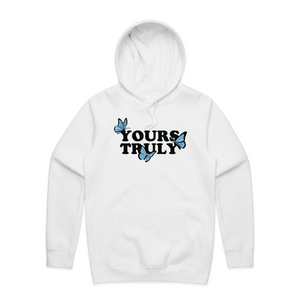 Yours Truly Butterflies Hoodie - White - Yours Truly Clothing