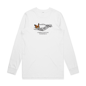 Skeleton Butterfly Long Sleeve - White - Yours Truly Clothing