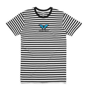 Blue Butterfly Striped Tee - Black - Yours Truly Clothing