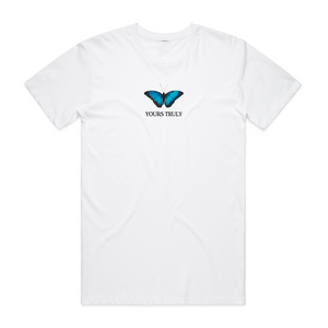 Blue Butterfly Tee - White - Yours Truly Clothing