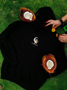 Teddy Moon Embroidered Hoodie - Black - Yours Truly Clothing