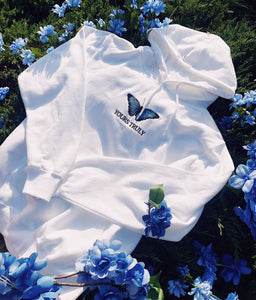 Yours Truly Blue Butterfly Hoodie - White - Yours Truly Clothing