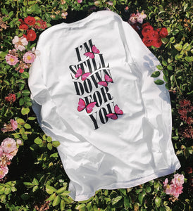 Im Still Down Pink Butterfly Long Sleeve - White - Yours Truly Clothing
